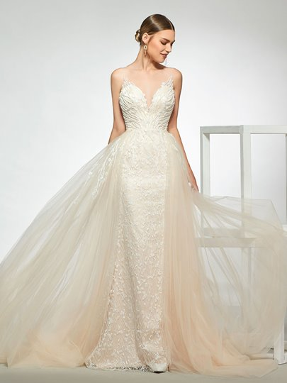Straps Beading Lace Wedding Dress 2019 with Removable Train Straps Beading Lace Wedding Dress 2019 with Removable Train
