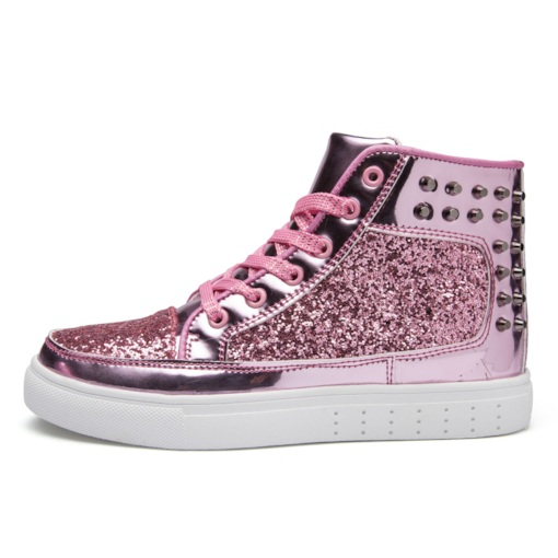 High Top Rivet Round Toe Lace-Up Glitter Women's Sneakers