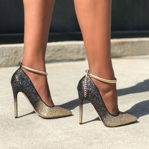 ed71d0080f1 Sequin Buckle Pointed Toe Stiletto Heel Customized Women s Prom Shoes