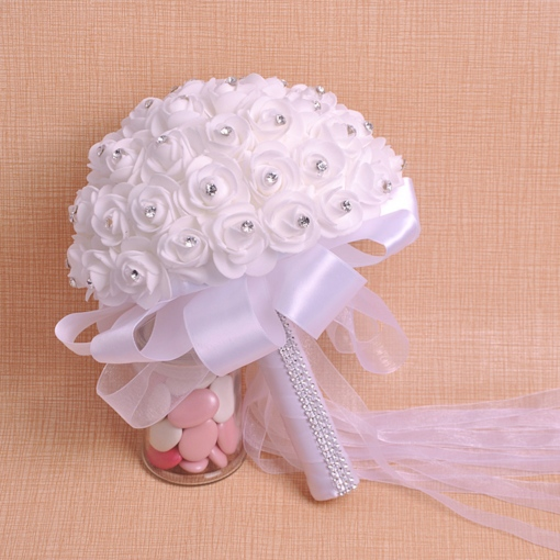 Beading Rose Satin Wedding Bouquet