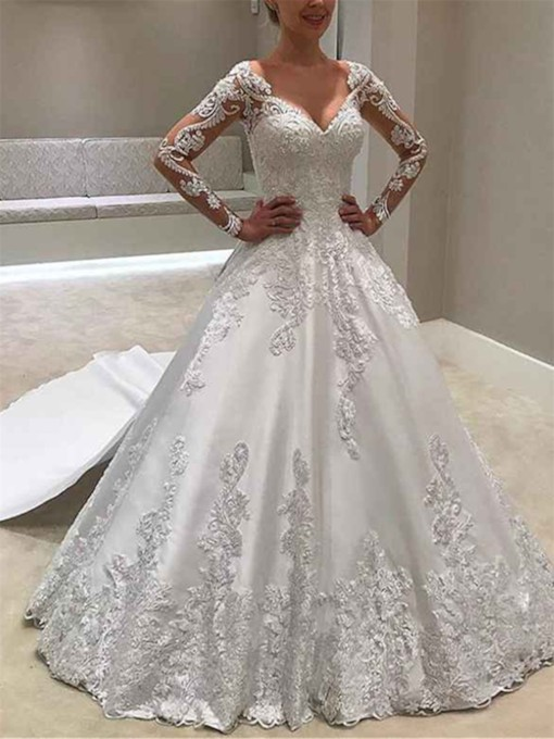 Appliques Watteau Train Long Sleeves Wedding Dress 2019
