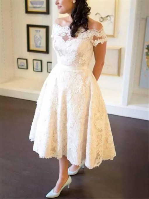 Appliques Tea-Length Beach Wedding Dress