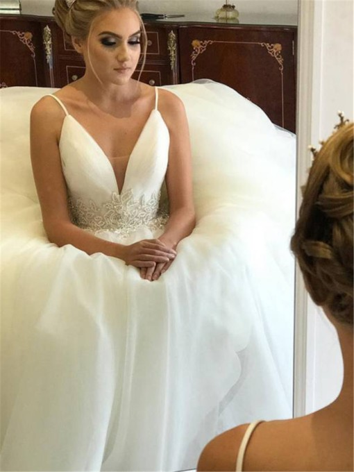 Beading Spaghetti Straps Wedding Dress 2019