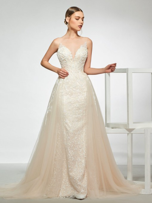Straps Beading Lace Wedding Dress 2019 with Removable Train