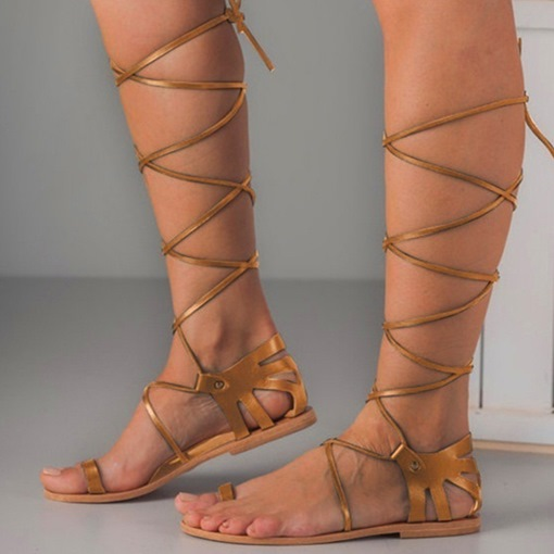 Flat Toe Ring Lace-Up Casual Women's Roman Sandals