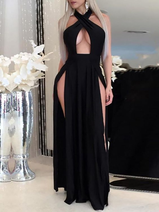 A-Line Floor-Length Sweep Train Sleeveless Evening Dress 2019
