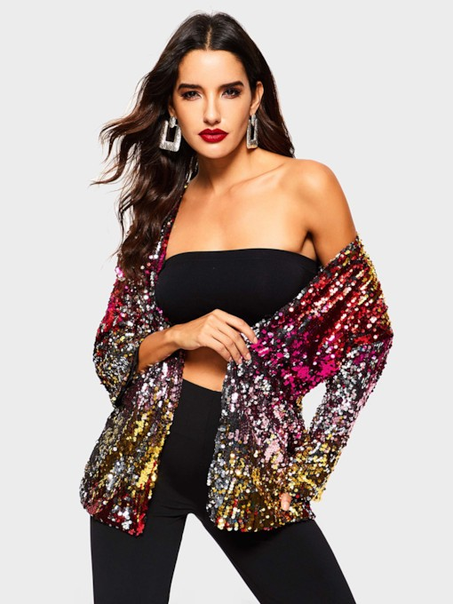 Glitter Sequins Wrapped Mid-Length Women's Jacket