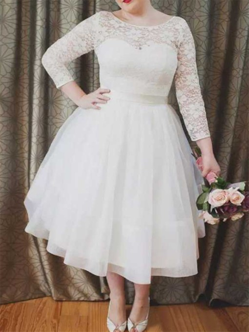 3/4 Length Sleeves Tea-Length Lace Wedding Dress