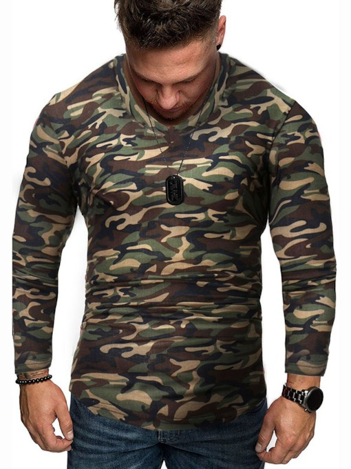 Round Neck Casual Print Camouflage Long Sleeve Men's T-shirt