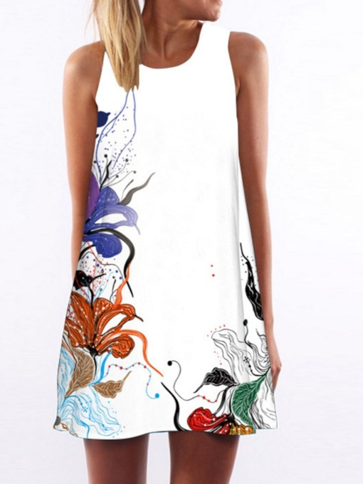 Round Neck Sleeveless Print Fashion Women's Day Dress
