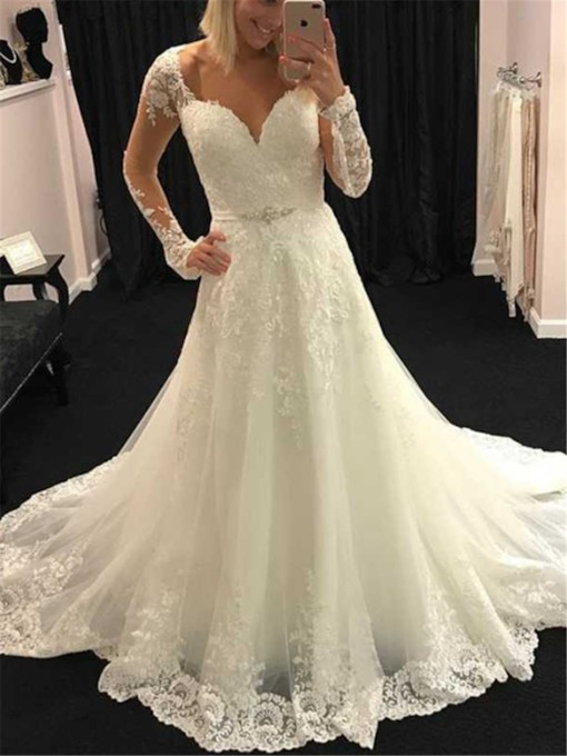 Appliques Sweetheart Long Sleeves Wedding Dress 2019
