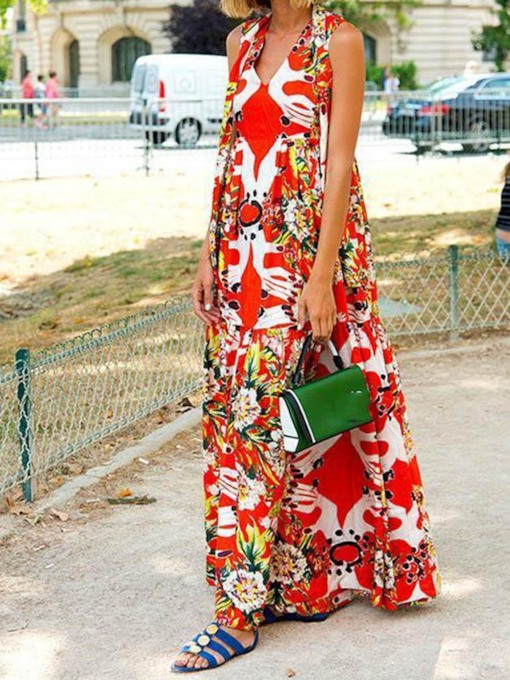 Floral Print Sleeveless Summer Women's Maxi Dress
