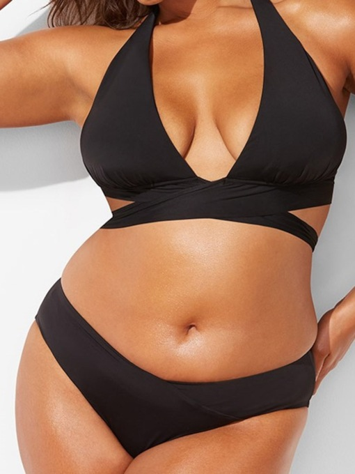 Plus Size Plain Bikini Set Sexy Women's Swimwear