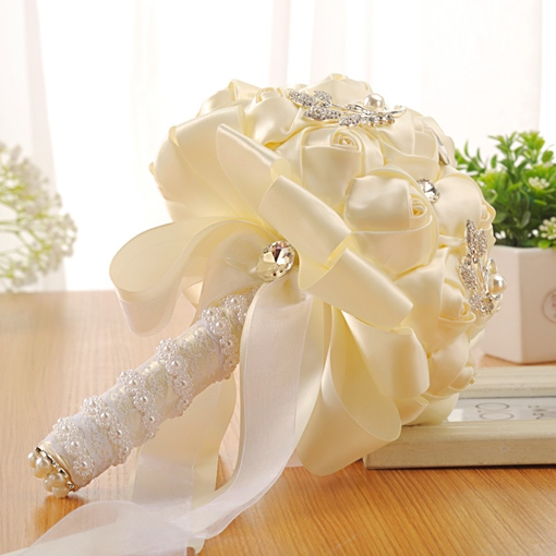 Beading Pearls Rose Wedding Bouquet