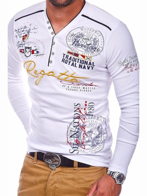 Casual Letter Print Long Sleeve Men's T-shirt