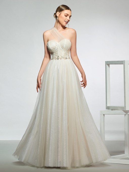One Shoulder Beading Outdoor Wedding Dress 2019
