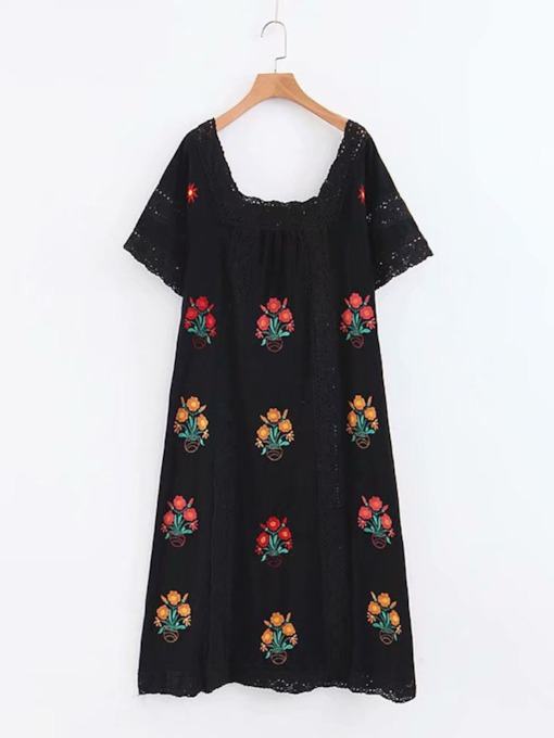 Short Sleeve Print Square Neck Pullover Women's Maxi Dress