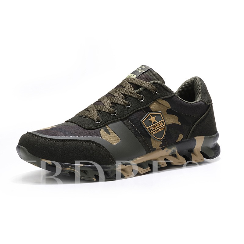 Low-Cut Upper Lace-Up Mesh Camouflage Men's Sneakers