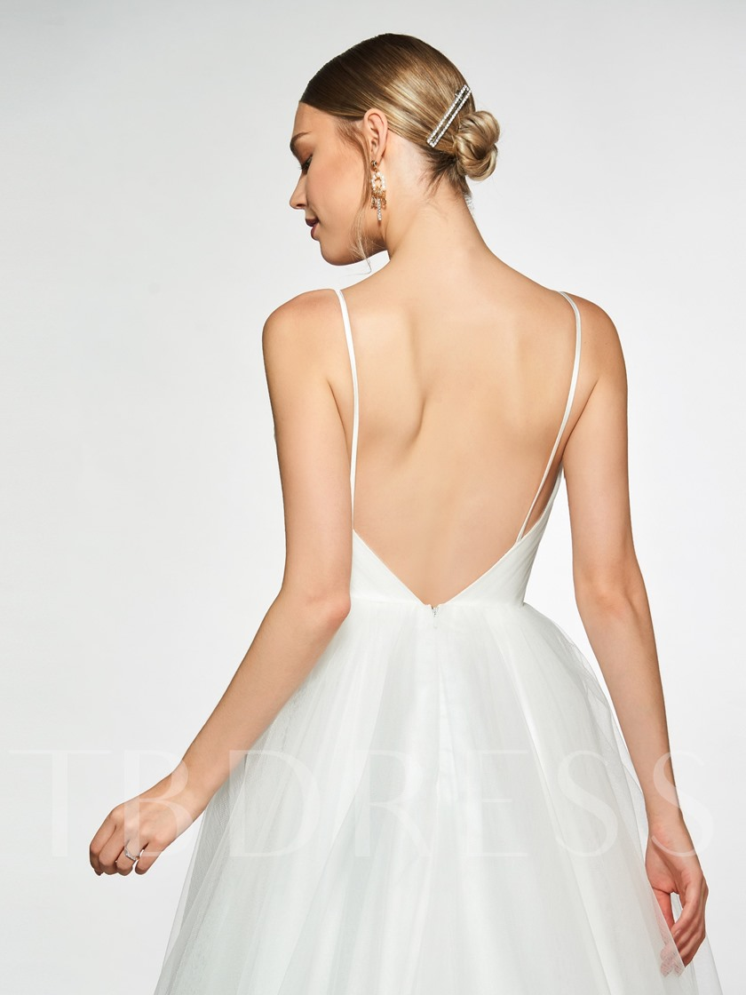 Spaghetti Straps Appliques Sweep Train Wedding Dress