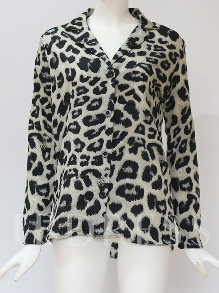 Leopard Print Regular Mid-Length Women's Blouse
