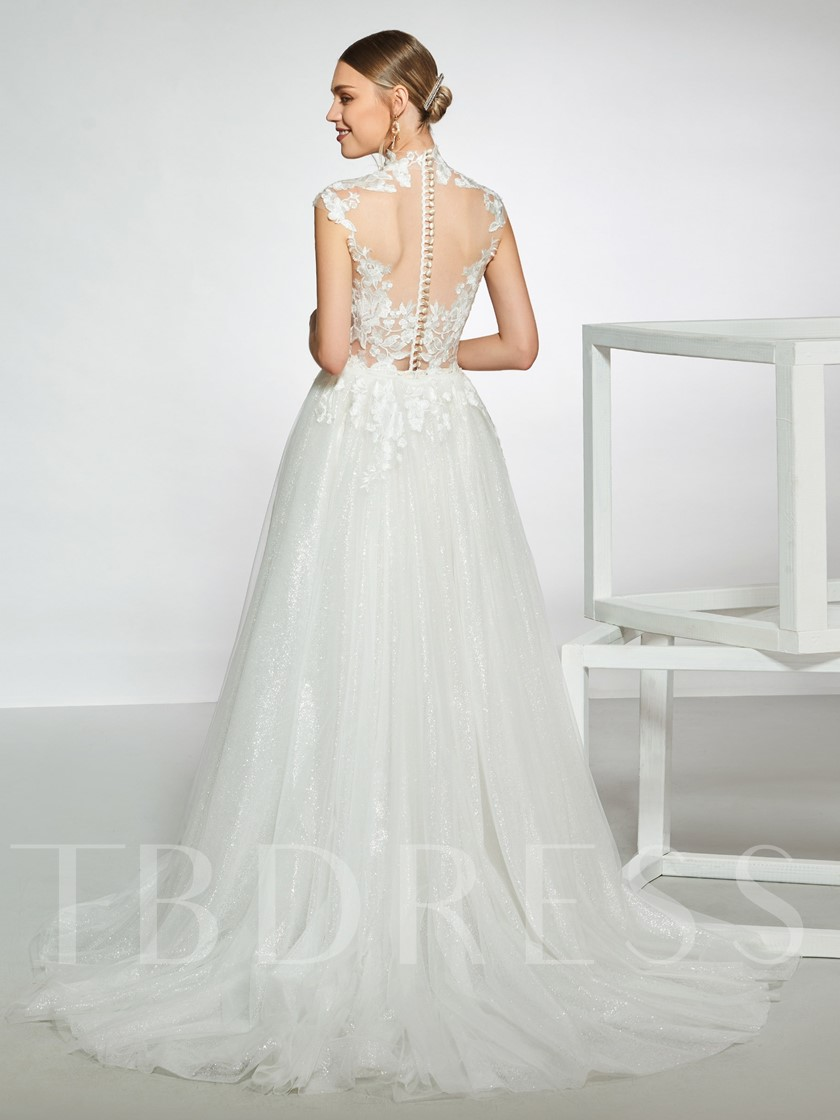 High Neck Removable Train Lace Wedding Dress 2019