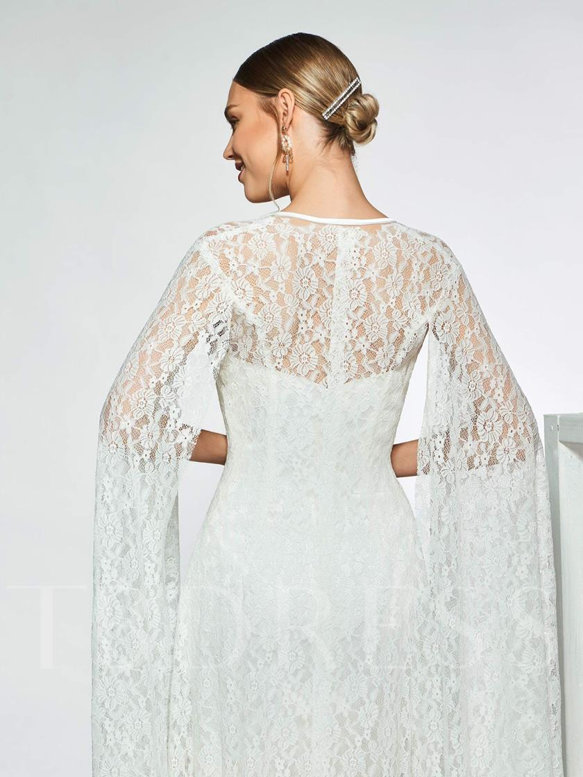 Split-Front Button Lace Wedding Dress 2019