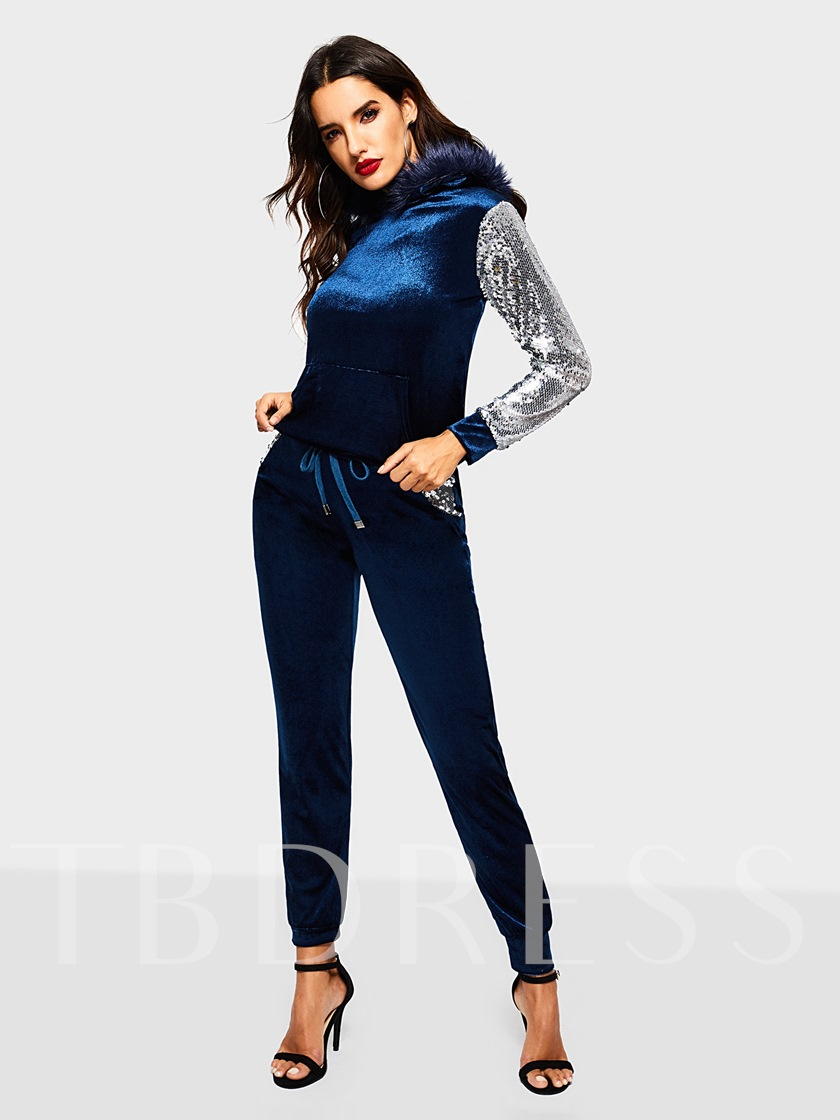 Plain Sequins Sports Pants Women's Two Piece Sets