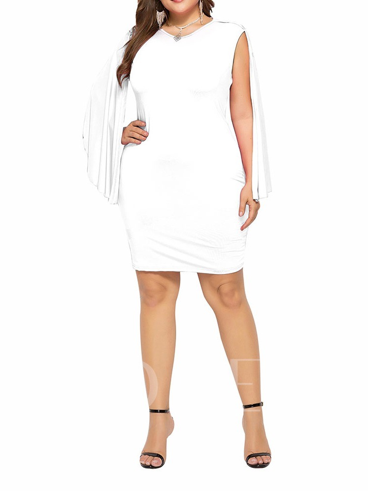 V-Neck Long Sleeve Asymmetrical Plain Women's Bodycon Dress
