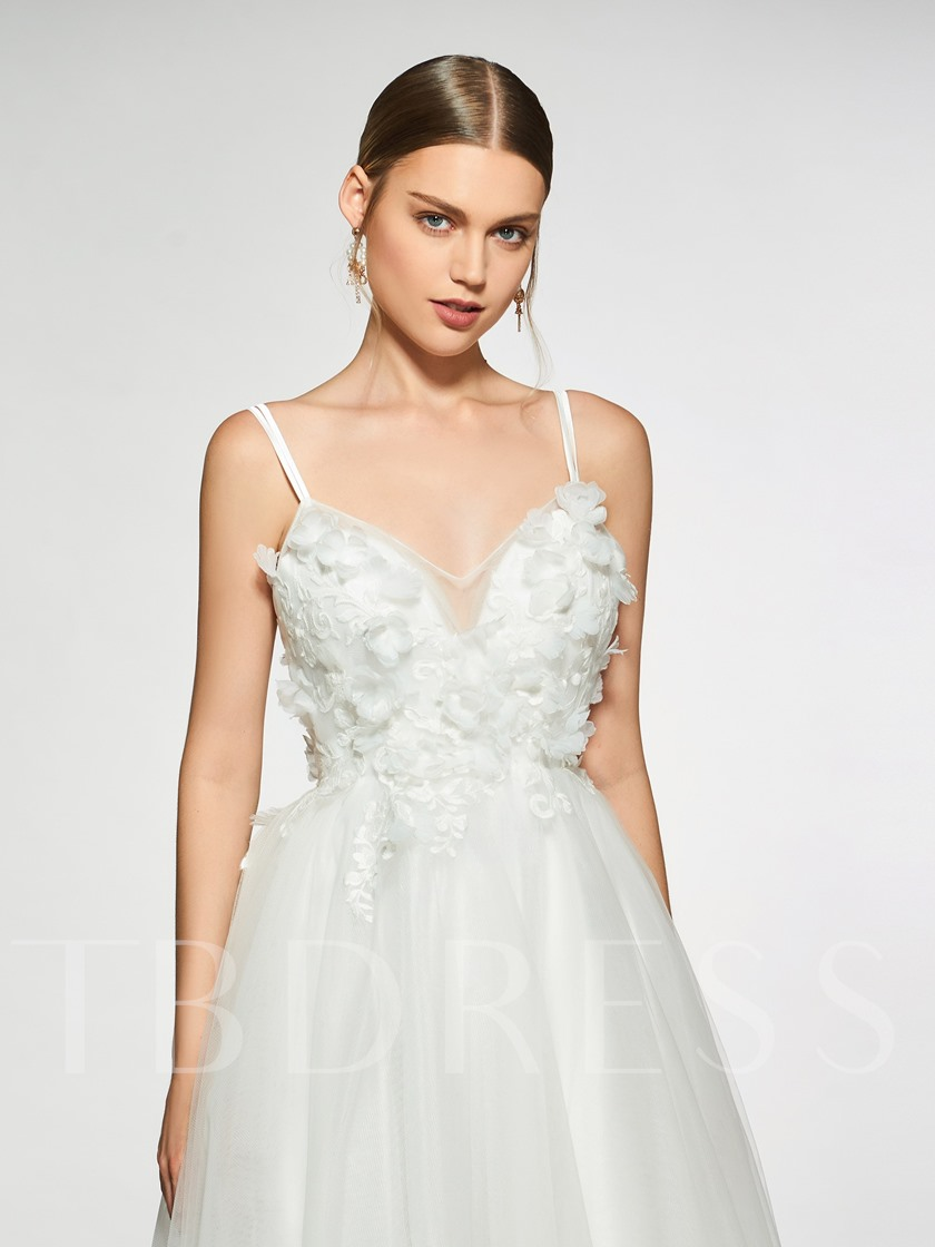 Spaghetti Straps Flowers Appliques Wedding Dress 2019