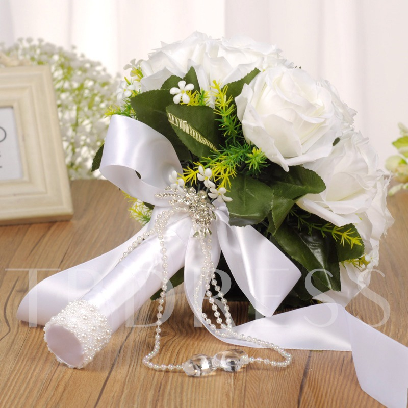 Pearls Rose Satin Bowknot Wedding Bouquet