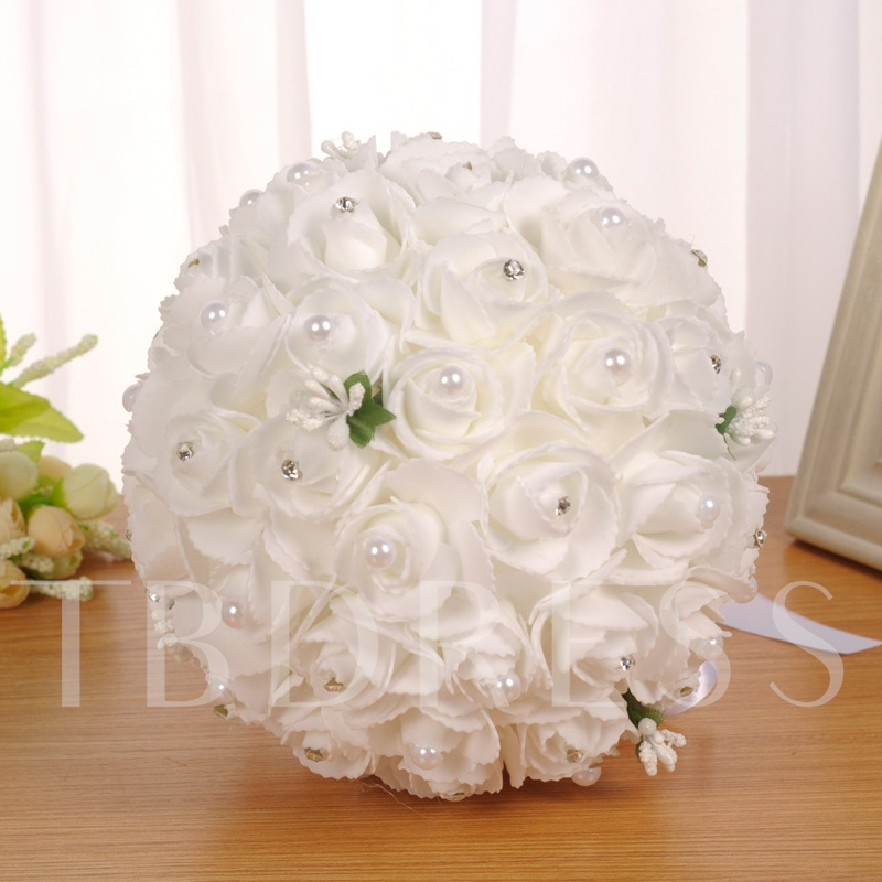 Pearls Beading Rose Satin Wedding Bouquet