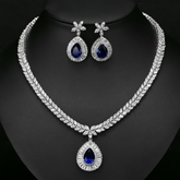 European Gemmed Necklace Wedding Jewelry Sets