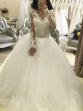 Ball Gown Appliques Beading Long Sleeves Wedding Dress 2019