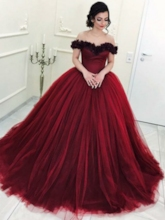 Off-The-Shoulder Flowers Ball Gown Short Sleeves Quinceanera Dress 2019