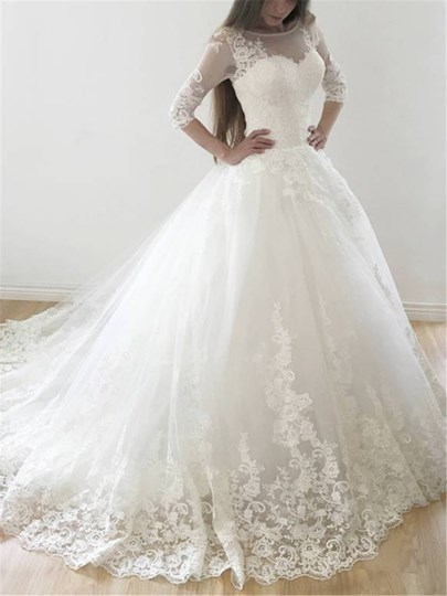 Appliques Lace-Up Half Sleeve Wedding Dress 2019 Appliques Lace-Up Half Sleeve Wedding Dress 2019