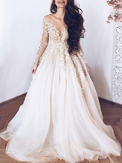 Illusion Neck Appliques Long Sleeve Wedding Dress 2019 Illusion Neck Appliques Long Sleeve Wedding Dress 2019