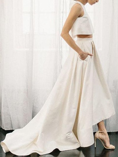 Two Pieces Backless Pockets Beach Wedding Dress 2019 Two Pieces Backless Pockets Beach Wedding Dress 2019