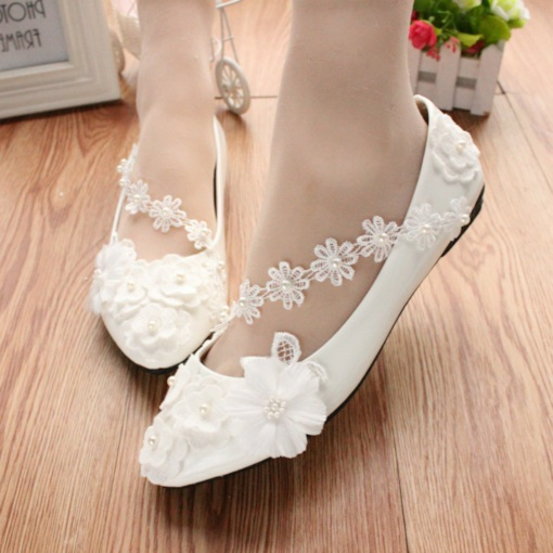 Round Toe Flat Beads Slip-On Low-Cut Upper Wedding Shoes 17782706e1f7