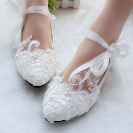 Ribbon Round Toe Flat Lace-Up Floral Lace Wedding Shoes c6ce3978728b