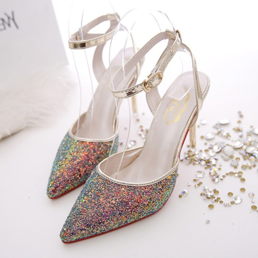 Pointed Toe Buckle Ankle Strap Stiletto Heel Glitter Sandals