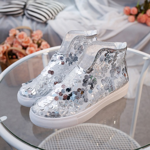 Slip-On Sequin Round Toe High-Cut Upper Casual Sneakers