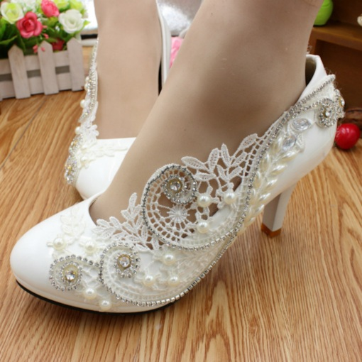 Stiletto Heel Sequin Appliques Round Toe Slip-On Wedding Shoes