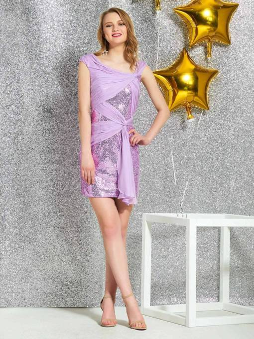 Cap Sleeves Short Sheath Sequins Cocktail Dress