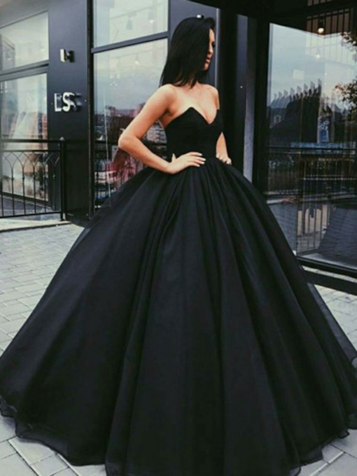 Strapless Black Ball Gown Evening Dress 2019