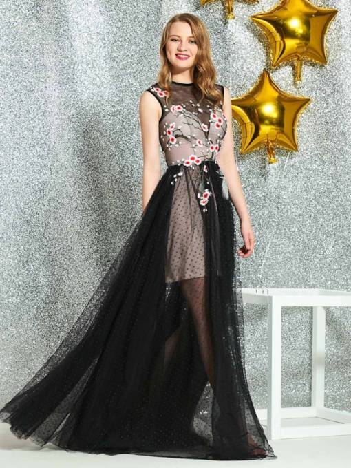 Button Embroidery Appliques Prom Dress 2019