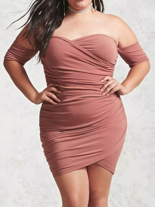 Plus Size Backless Half Sleeve Women's Bodycon Dress
