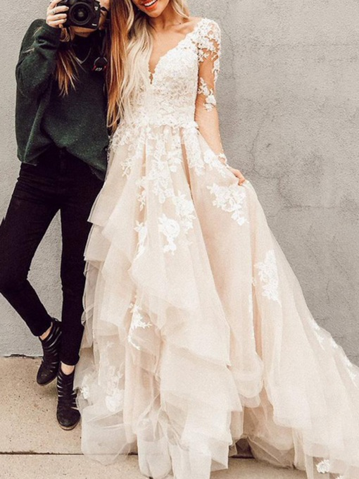 Cascading Ruffles Appliques Long Sleeves Wedding Dress 2021