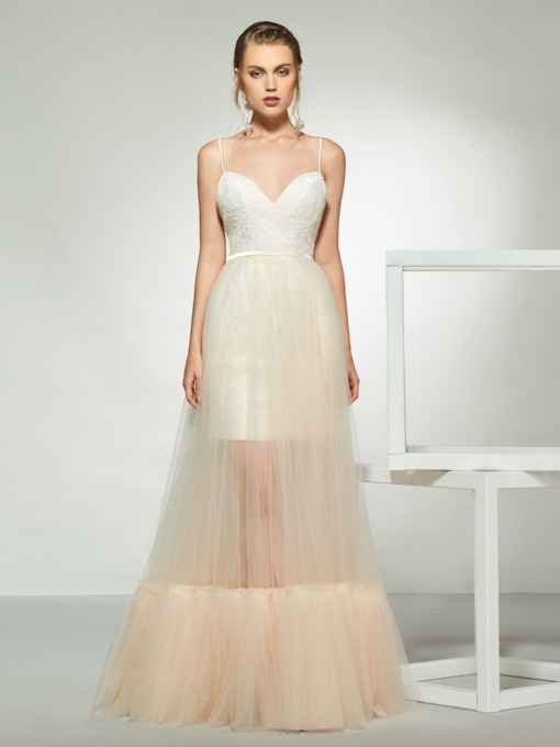 Spaghetti Straps Lace Outdoor Wedding Dress 2019 11a08a95d762