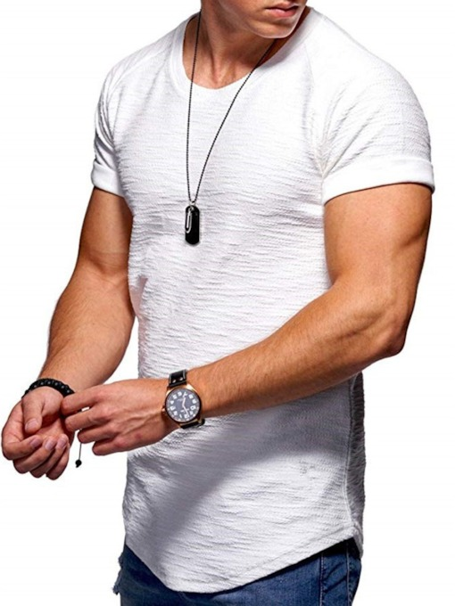 Basic Tops Short Sleeves Tees Plain Round Neck Casual Loose Men's T-shirt