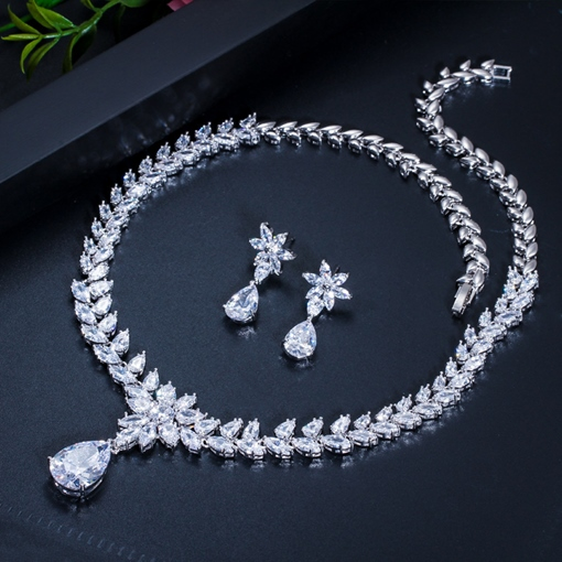 European Necklace Earings Gemmed Wedding Jewelry Sets